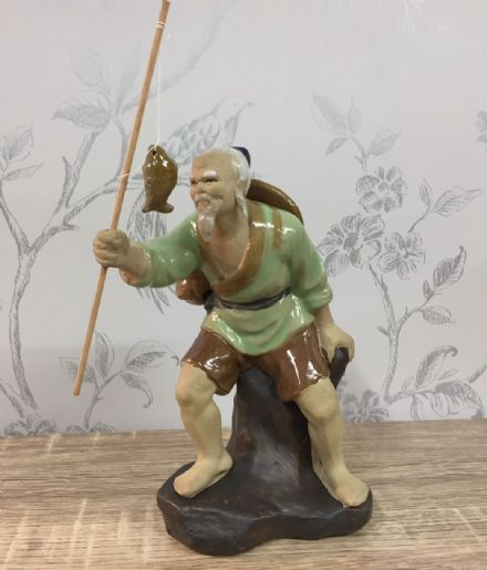 Ceramic Traditional Chinese Fisherman - Standing, Green